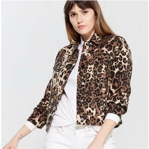 BAGATELLE Leopard Print Denim Jacket Sz Large, NWT
